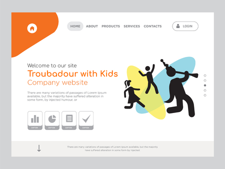 Quality One Page Troubadour with Kids Website Template