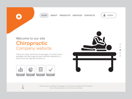Quality One Page Chiropractic Website Template Vector Eps, Modern Web Design with landscape illustration, ideal for landing page, Chiropractic icon