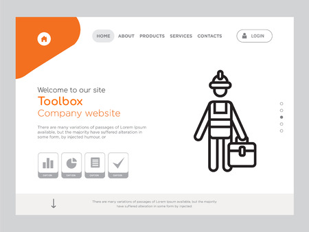 Quality One Page Toolbox Website Template Vector Eps, Modern Web Design with landscape illustration, ideal for landing page, Toolbox icon