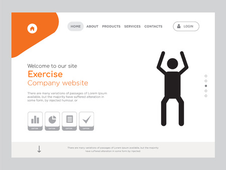 Quality One Page Exercise Website Template Vector Eps, Modern Web Design with landscape illustration, ideal for landing page, Exercise icon