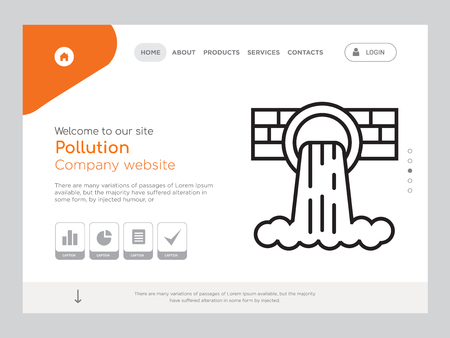 Quality One Page Pollution Website Template Vector Eps, Modern Web Design with landscape illustration, ideal for landing page, Pollution icon