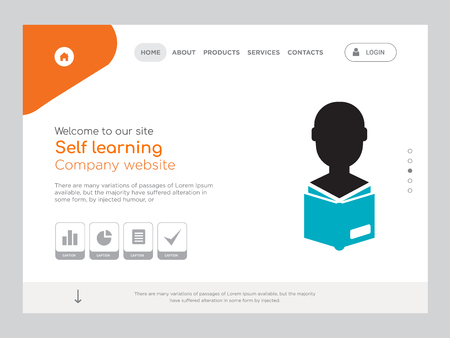 Quality One Page Self learning Website Template Vector Eps, Modern Web Design with landscape illustration, ideal for landing page, Self learning icon Illustration