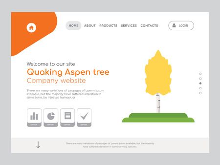 Quality One Page Quaking Aspen tree Website Template Vector Eps, Modern Web Design with landscape illustration, ideal for landing page, Quaking Aspen tree icon