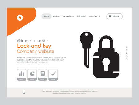 Quality One Page Lock and key Website Template Vector Eps, Modern Web Design with landscape illustration, ideal for landing page, Lock and key icon