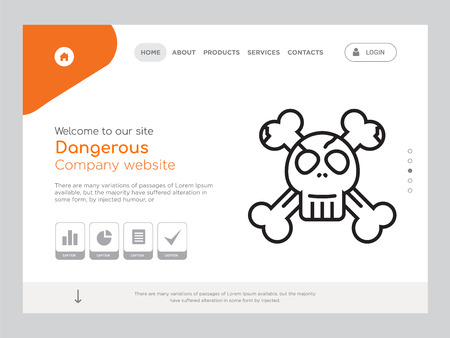 Quality One Page Dangerous Website Template Vector Eps, Modern Web Design with landscape illustration, ideal for landing page, Dangerous icon