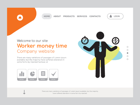 Quality One Page Worker money time Website Template Vector Eps, Modern Web Design with landscape illustration, ideal for landing page, Worker money time icon