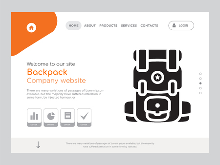 Quality One Page Backpack Website Template Vector Eps, Modern Web Design with landscape illustration, ideal for landing page, Backpack icon Stock Illustratie