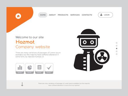 Quality One Page Hazmat Website Template Vector Eps, Modern Web Design with landscape illustration, ideal for landing page, Hazmat icon