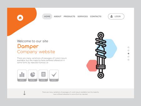 Quality One Page Damper Website Template Vector Eps, Modern Web Design with landscape illustration, ideal for landing page, Damper icon