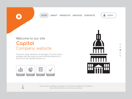 Quality One Page Capitol Website Template Vector Eps, Modern Web Design with landscape illustration, ideal for landing page, Capitol icon