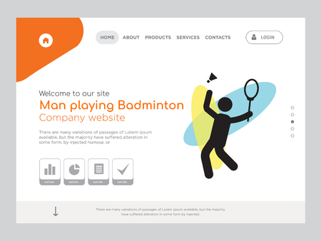 Quality One Page Man playing Badminton Website Template