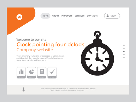Quality One Page Clock pointing four oclock Website Template