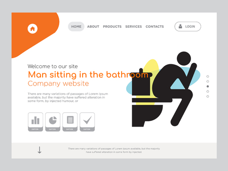 Quality One Page Man sitting in the bathroom Website Template Vector Eps, Modern Web Design with landscape illustration, ideal for landing page, Man sitting in the bathroom icon Illustration