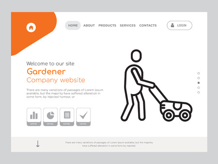 Quality One Page Gardener Website Template Vector Eps, Modern Web Design with landscape illustration, ideal for landing page, Gardener icon