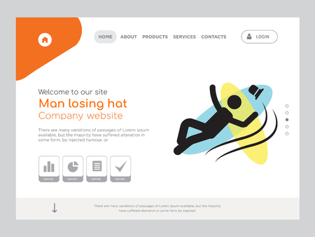 Quality One Page Man losing hat Website Template Vector Eps, Modern Web Design with landscape illustration, ideal for landing page, Man losing hat icon