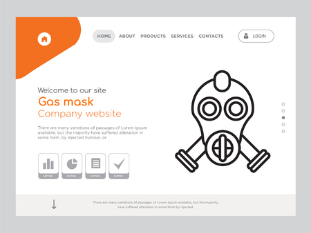 Quality One Page Gas mask Website Template Vector Eps, Modern Web Design with landscape illustration, ideal for landing page, Gas mask icon