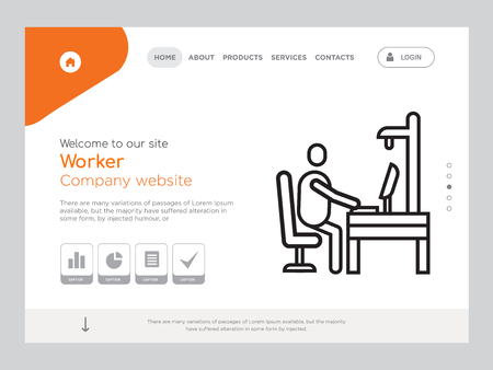 Quality One Page Worker Website Template Vector Eps, Modern Web Design with landscape illustration, ideal for landing page, Worker icon Illustration