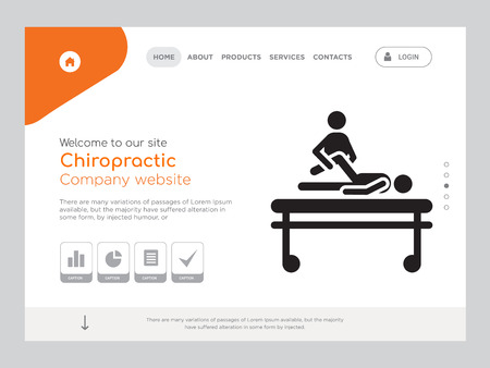 Quality One Page Chiropractic Website Template Vector Eps, Modern Web Design with landscape illustration, ideal for landing page, Chiropractic icon Stock Vector - 114889035