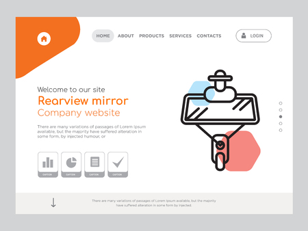 Quality One Page Rearview mirror Website Template Vector Eps, Modern Web Design with landscape illustration, ideal for landing page, Rearview mirror icon