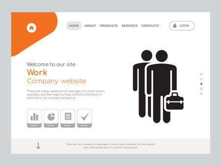Quality One Page Work Website Template Vector Eps, Modern Web Design with landscape illustration, ideal for landing page, Work icon Ilustrace