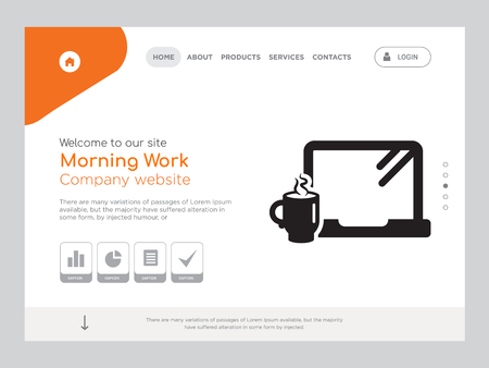 Quality One Page Morning Work Website Template Vector Eps, Modern Web Design with landscape illustration, ideal for landing page, Morning Work icon