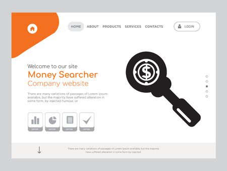 Quality One Page Money Searcher Website Template Vector Eps, Modern Web Design with landscape illustration, ideal for landing page, Money Searcher icon