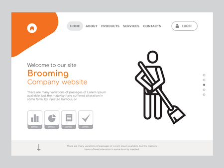 Quality One Page Brooming Website Template Vector Eps, Modern Web Design with landscape illustration, ideal for landing page, Brooming icon