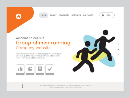 Quality One Page Group of men running Website Template Vector Eps, Modern Web Design with landscape illustration, ideal for landing page, Group of men running icon