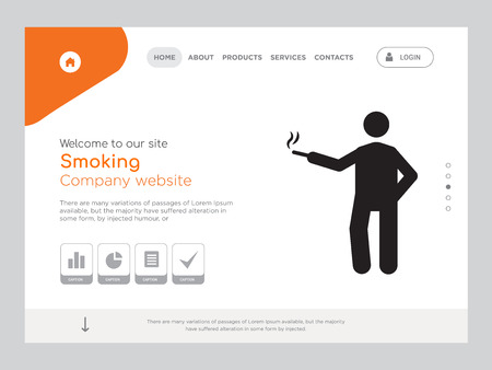 Quality One Page Smoking Website Template Vector Eps, Modern Web Design with landscape illustration, ideal for landing page, Smoking icon Ilustração