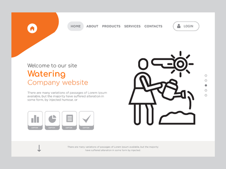Quality One Page Watering Website Template Vector Eps, Modern Web Design with landscape illustration, ideal for landing page, Watering icon