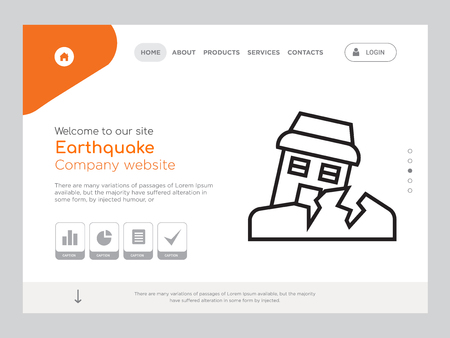 Quality One Page Earthquake Website Template Vector Eps, Modern Web Design with landscape illustration, ideal for landing page, Earthquake icon