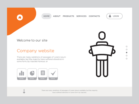 Quality One Page man holding big piece of paper for company Website Template