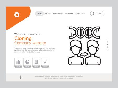 Clonación de una página de calidad, Eps vectoriales Plantilla de sitio web Diseño web moderno con ilustración horizontal, ideal para la página de aterrizaje, icono de clonación Ilustración de vector