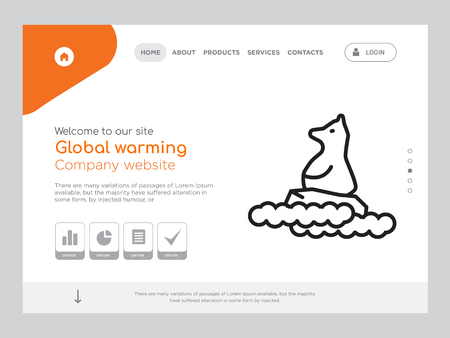 Quality One Page Global warming Website Template Vector Eps, Modern Web Design with landscape illustration, ideal for landing page, Global warming icon