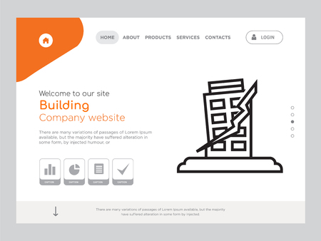 Quality One Page Building Website Template  イラスト・ベクター素材