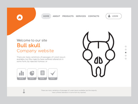 Quality One Page Bull skull Website Template Illustration