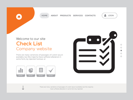 Quality One Page Check List Website Template Vector Eps, Modern Web Design with landscape illustration, ideal for landing page, Check List icon