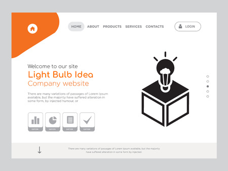 Quality One Page Light Bulb Idea Website Template Vector Eps, Modern Web Design with landscape illustration, ideal for landing page, Light Bulb Idea icon