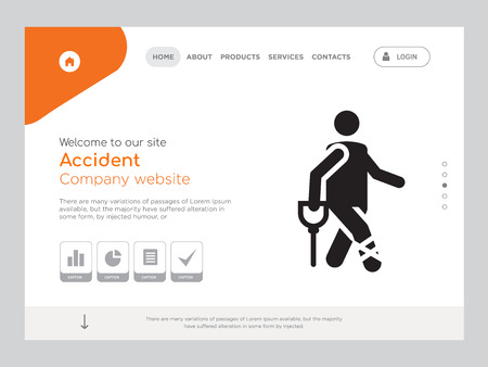 Quality One Page Accident Website Template Vector Eps, Modern Web Design with landscape illustration, ideal for landing page, Accident icon Archivio Fotografico - 114889372