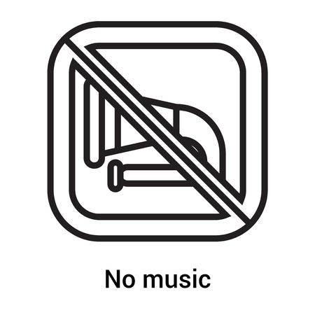 No music icon vector isolated on white background for your web and mobile app design, No music concept