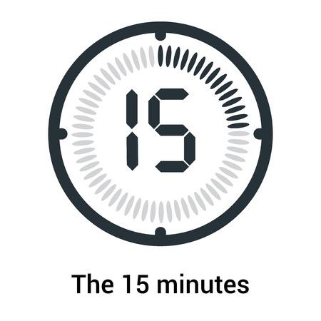 El icono de 15 minutos aislado sobre fondo blanco, reloj y reloj, temporizador, símbolo de cuenta atrás, cronómetro, icono de vector de temporizador digital
