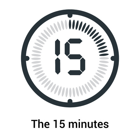 The 15 minutes icon isolated on white background, clock and watch, timer, countdown symbol, stopwatch, digital timer vector icon