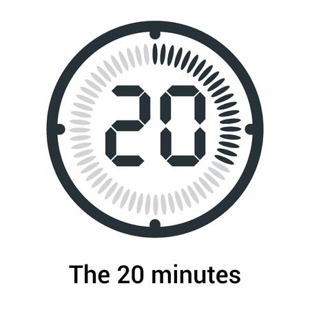L'icône de 20 minutes isolée sur fond blanc, horloge et montre, minuterie, symbole de compte à rebours, chronomètre, icône vectorielle de minuterie numérique