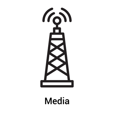 Media signal tower icon vector isolated on white background for your web and mobile app design