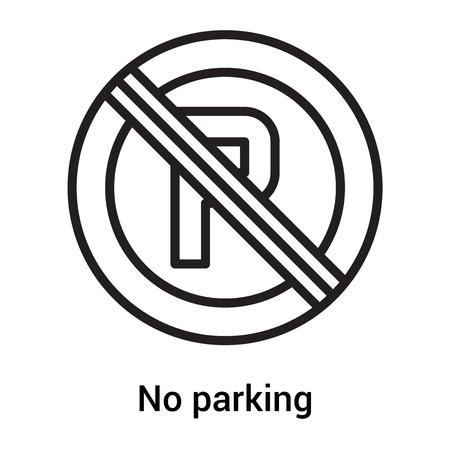 Nessun parcheggio icona vettoriale isolato su sfondo bianco per il vostro web e progettazione di app per dispositivi mobili, Nessun concetto di icona di parcheggio