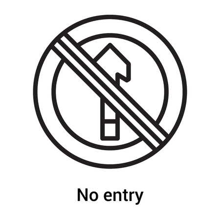 No entry icon vector isolated on white background for your web and mobile app design, No entry icon concept