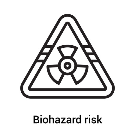 Biohazard risk triangular signal icon vector isolated on white background for your web and mobile app design, Biohazard risk triangular signal icon concept Vectores