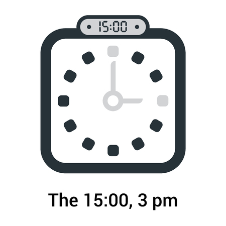 The 15:00, 3 pm icon isolated on white background, clock and watch, timer, countdown symbol, stopwatch, digital timer vector icon