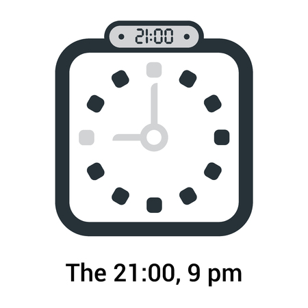 The 21:00, 9 pm icon isolated on white background, clock and watch, timer, countdown symbol, stopwatch, digital timer vector icon Stock Illustratie