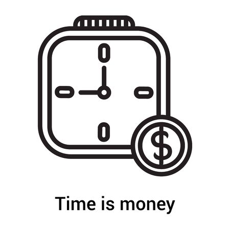 Time is money icon vector isolated on white background for your web and mobile app design, Time is money logo concept